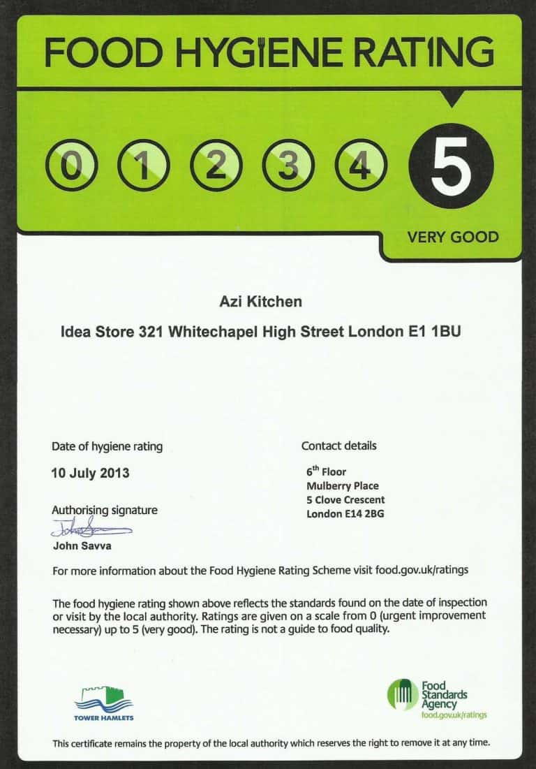 Our 2013 Top Food Hygiene Grade 5 Rating from Tower Hamlets Borough Council and the Food Standards Agency
